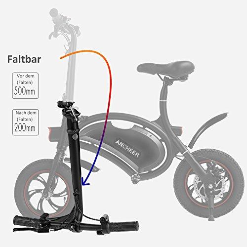 Ancheer E-Scooter Faltbar, Elektroroller Pedelec, Höchstgeschwindigkeit bis 25 km/h, 36V 4.4AH LG Zelle Batterie, 250W Hochgeschwindigkeit-Bürstenlose Heckmotor, intelligente App-Funktion Schwarz - 6