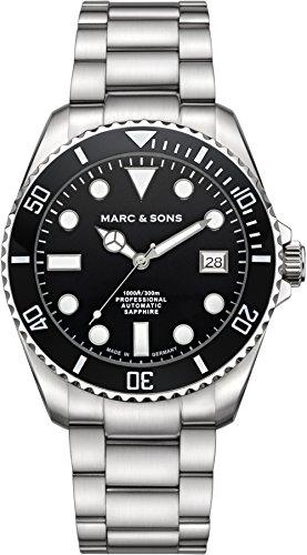 Marc & Sons, orologio subacqueo automatico, vetro zaffiro, Super-LumiNova...