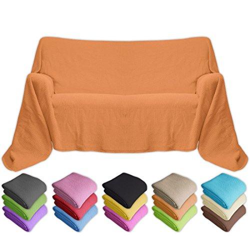Nurtextil24 Waffelpique Sofaüberwurf 16 Farben und 4 Größen 100% Baumwolle Überwurf Orange 130x210cm