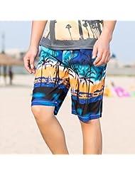 PZLL Pantalones de los hombres moda cinco sueltos, Palma brisa Playa Surf shorts marea , blue , xxxl