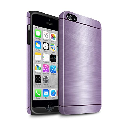 Stuff4® Glanz Harten Stoßfest Hülle/Case für Apple iPhone 4/4S / Lila Muster/Gebürstetem Metall Mutser Kollektion (Case 4s Gebürstetem Metall Iphone)