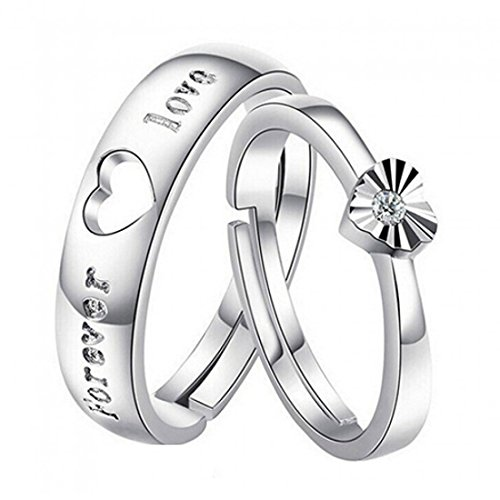 Peora Forever Love Adjustable Couple Ring for Men and Women with Austrian Crystal