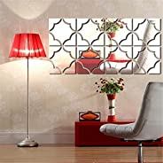 Arabest Mirror Wall Sticker, 4 Pieces Set Removable Acrylic Mirror Wall Decal for Living Room Bedroom TV Sofa