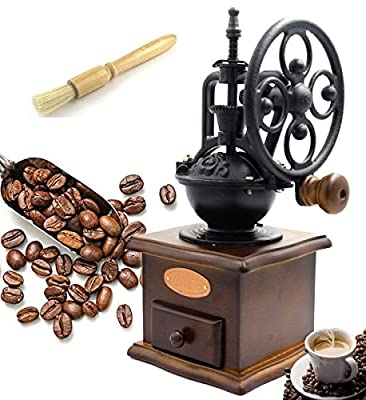 Fecihor Coffee Grinder Manual Grinding Burr Bean Coffee Maker Grind Mill Herb Spice Grinders Hand Handle With Cleaning Brush Ceramic Blade Wood Drawer from Fecihor