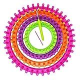 JJPRIME JJOnlineStore–4pcs Colorido Redondo DIY para Tejer Knitter Telares Calcetines Bufanda Gorro eléctrica Craft Kit de Herramientas Set