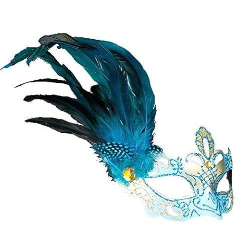 Kristall Strass Feder Venezianischen Stil Maske Mascara Princess Fancy Dress blau (Coole Purge Kostüme)