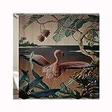 Knbob Duschvorhangringe Flamingo Flamingo Shower Curtain 150X180CM mit Vorhanghaken Badezimmer Vorhänge