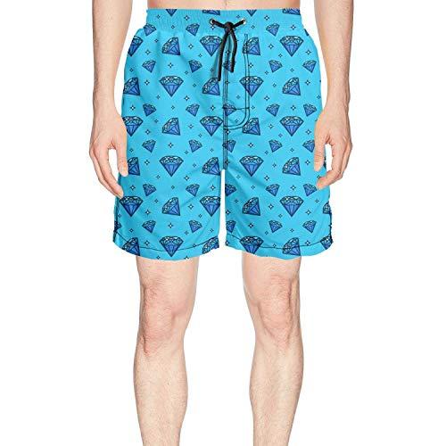 Unique Blue Diamond Patch Fashion Man's Swimsuit Trunks Short,Shorts Size XL