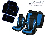 XtremeAuto© VR SPORT, BLUE CAR Seat Covers and Floor Mats, Colour Coded Styling Set