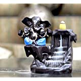 CraftJunction Handcrafted Big Size Lord Ganesha Smoke Backflow Cone Incense Holder Decorative Showpiece with 10 Free Smoke Backflow Scented Cone Incenses (Blue)