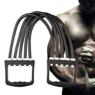 A- SZCXTOP Strength Training Equipment Chest Expander 5 Resistance Bands Workout for Home,Office orTravel, Stretch Bands,Elastic Exercise for Chest,Arm.