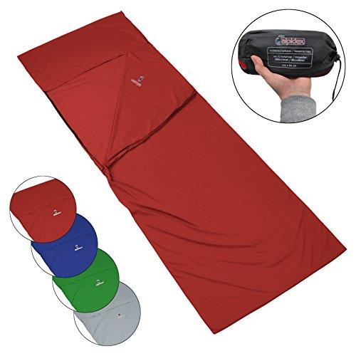 ALPIDEX Mikrofaser Hüttenschlafsack Reiseschlafsack Pocket Paul Innenschlafsack Rechteckform Schlafsack Inlett Herbergsschlafsack Sommerschlafsack Inlay Liner, Farbe:Red Fire -