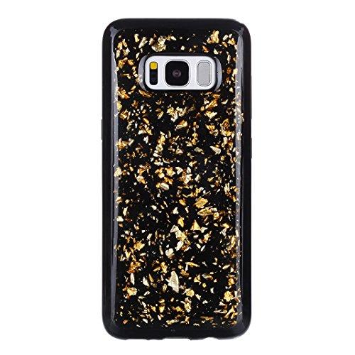 Preisvergleich Produktbild Galaxy S8 Hülle,  Asnlove Premium 3D Transparent Silikon Case Hülle Bling Diamond Sequins Hülle Tasche Handyhülle Glitter Glitzer Sparkle Schale Etui Tasche Case Cover für Samsung Galaxy S8,  Golden