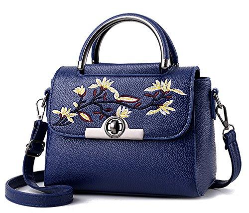 Xinmaoyuan borse Donna Donna ricamo borsetta Pu borsa Messenger Blu scuro