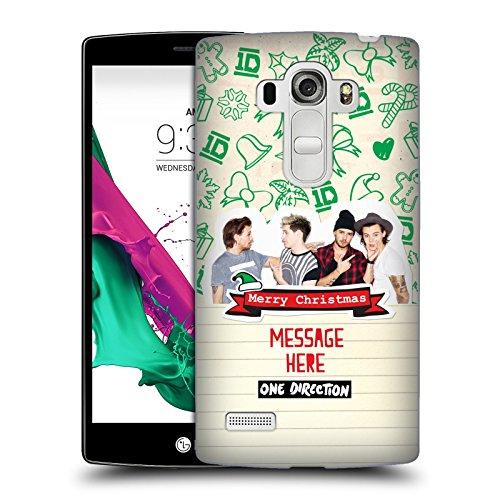 Head Case Designs Personalisierte Individuelle One Direction 1D Text Doodle Grün Weihnachten Harte Rueckseiten Huelle kompatibel mit LG G4 Beat / G4s / G4 s / H735 (Grün Beats Ersatzteile)