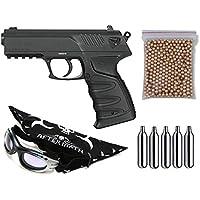Pack pistola Perdigón Gamo P-27 Dual. Calibre 4,5mm. Potencia 2,5 Julios + Gafas antivaho + Pañuelo cabeza decorado, + Balines + Bombonas co2