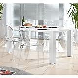 Esstisch-Gruppe weiß Hochglanz 120x80 cm recht-eckig mit 4 Igloo Design Stühlen | Luca | Essgruppe weiss 4 Stühle ohne Armlehnen | Design Tischgruppe mit Ess-Tisch weiß lackiert 120cm x 80cm 5 tlg.