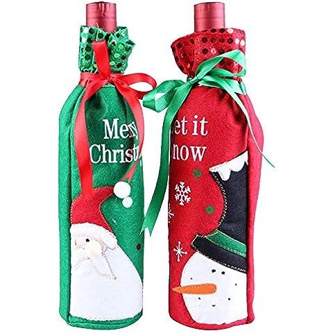 Forepin® 2PCS Bottiglia Vino di Copertura Babbo Natale Pupazzo di Neve Sacchetto Decorazioni di Natale Del Regalo di Natale per Cena Partito - Vino Di Natale Etichetta