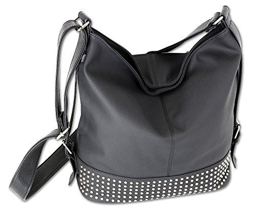 Jennifer Jones Taschen Damen Damentasche Handtasche Schultertasche Umhängetasche Tasche groß 4 Farben (3122) (Schwarz)
