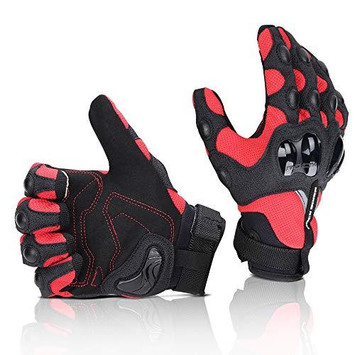 Motorrad Handschuhe Sommer Sport Handschuhe Touchscreen Handschuhe Warm Atmungsaktiv Anti RutschFahrad Handschuhe Sommerhandschuhen Ideal für Motorrad Radfahren Camping Outdoor Rot L