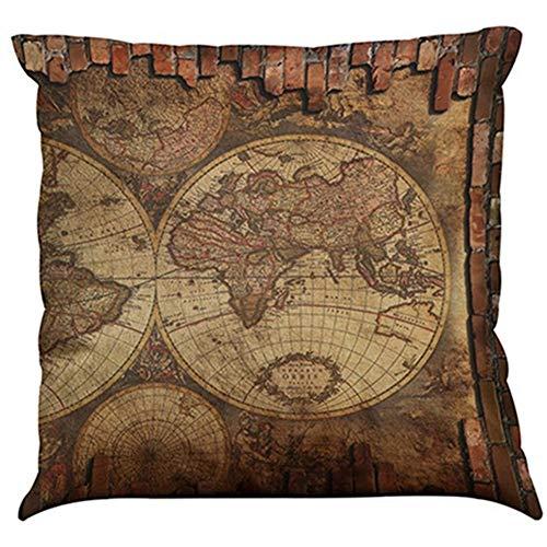 COFACE Retro-Stil Weltkarten Muster gedruckt Kissenbezug 45X45cm Leinenbaumwoll atmungsaktiv Kissenhülle