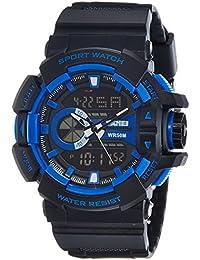 SKMEI Analog-Digital Black Dial Men's Watch-AD1117 (BLK-BLU)