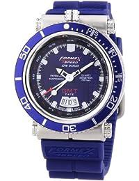 Formex 4 Speed DS2000 - Reloj analógico de caballero de cuarzo con correa de silicona azul