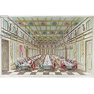 Feast given at the Chateau de Versailles in Celebration of the Peace at the end of the Seven Years War, 1763(Coloured Engraving) (170924), Aluminium-Dibond, 140 x 90 cm