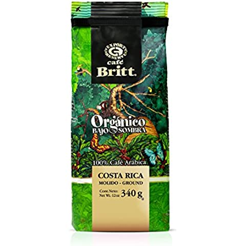 Café Britt Costa Rica Orgánico Bajo Sombra Arábica Molido, Paquete de 340 g