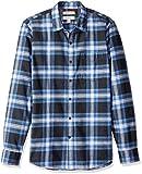 Goodthreads Camicia a Maniche Lunghe in Flanella Slim Fit Uomo, Blu (navy blue plaid), Medium (Taglia Produttore: Medium Tall)