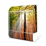 BANJADO Design Briefkasten weiß/38x47x13cm groß mit Zeitungsfach/Stahl pulverbeschichtet/Wandbriefkasten mit Motiv Herbstwald, Briefkasten:ohne Standfuß