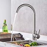 BONADE Küchenarmatur Einhand-Spültischbatterie 360° Drehbar Armatur Mischbatterie Wasserhahn Küche, Gebürstet Edelstahl SUS304