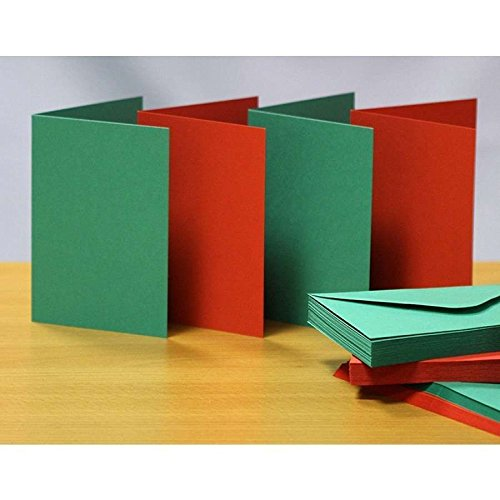 Craft Blank greeting 20 cards amp; 20 envelopes - Craft UK C6 Red amp; Green christmas colours