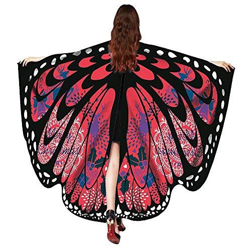 Kostüm Superman Zombie - OverDose Damen Karneval Mode Stil Frauen Schmetterlingsflügel Schal Schals Damen Nymphe Pixie Poncho Kostüm Zubehör Cosplay Slim Wing Schal