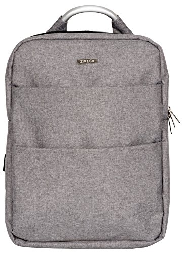 Innomark Zip and Go Laptop-Tasche / Notebook-Rucksack | Bag mit zwei Fächern für Laptops / Tablets | für Notebooks mit 15 Zoll / Uni-Tasche für Damen / Herren | Grau