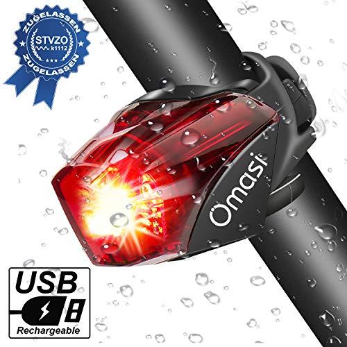 Fahrrad Rücklicht, Omasi StVZO Zugelassen Fahrradrücklicht Hohe Qualität Ultra Hell Fahrrad Licht, Fahrradlampe Aufladbar,Fahrradbeleuchtung LED USB Wiederaufladbare Wasserdicht