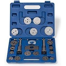 TecTake Kit per arretramento pistoncini freno Set di rispristino per pistoncini del freno Utensili del freno 22 pezzi resetter dei freni a mandarino blu