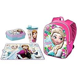 Set Zaino Zainetto Frozen Never Anna e Elsa in 3D Portamerenda Asilo,Scuola Materna Bambina