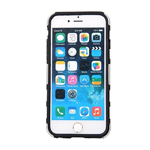 """MOONCASE iPhone 6 Case Dual Layer hybride Hard Shell Béquille Cover Housse Coque Etui Case pour iPhone 6 (4.7"""") Blanc Argenté"""