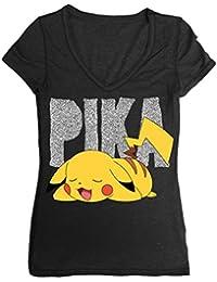 Pokemon Sleepy Pikachu Juniors Black Girl T-Shirt Top