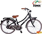 Zonix Mädchen Hollandrad Schwarz / Design 24 Zoll mit Frontträger