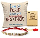 #4: TiedRibbons Rakhi for Brother with Gift Printed Cushion(12 Inch X 12 Inch) with Rakhi and Roli Chawal pack