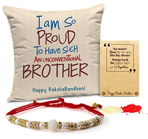 TiedRibbons Rakhi for Brother with Gift Printed Cushion(12 inch X 12 inch) with Rakhi and Roli Chawal Pack
