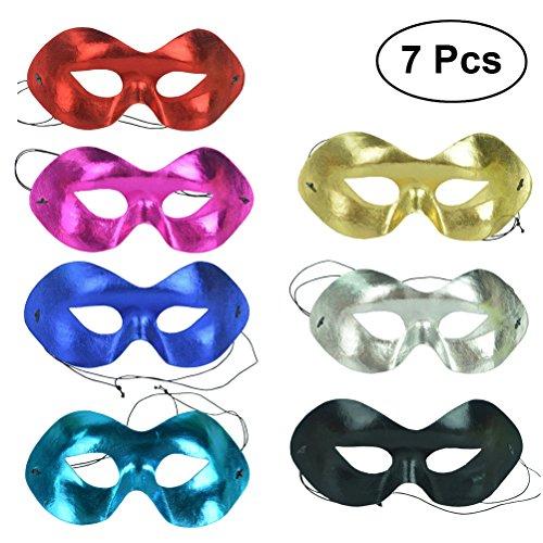 Amosfun 7 Stücke Party Halbe Gesichtsmaske Biegen Bunte Maske Mystische Maske für Party Prom Halloween Kostüme
