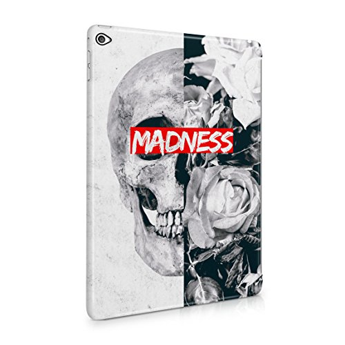 Queen Skull Madness Vintage Blumen Roses Grau Marmor Dünne Rückschale aus Hartplastik für iPad Air 2 Tablet Hülle Schutzhülle Slim Fit Case Cover