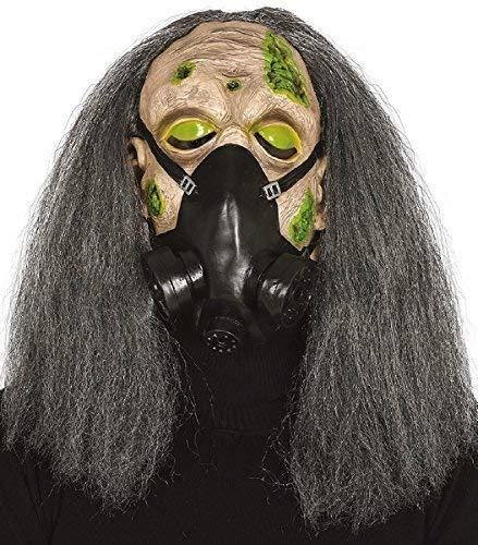 Fancy Me Erwachsene Bio Hazard Zombie Wissenschaftler Gas Maske mit Haaren Halloween Latex Horror Kostüm Kleid Outfit Zubehör Maske