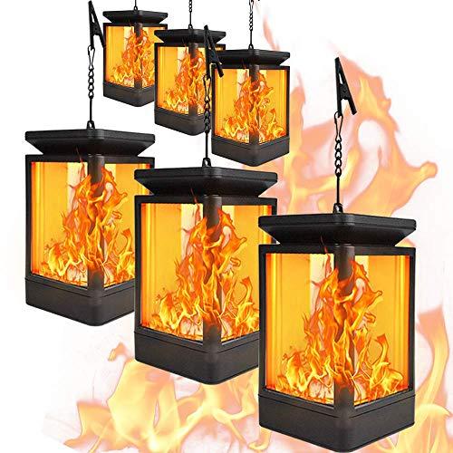 CMXX Solar Flame Lights Hängende Laterne Lichter, Tanzen Flicking Nachtlicht, Solarbetriebene LED Light Für Garten Pathways Weihnacht Halloweenm 3 Flickering Molds,6pieces -