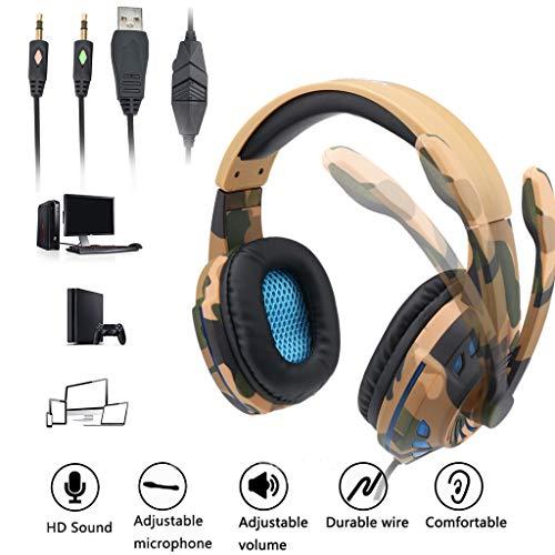 Webla Laptop-Kopfhörer, einzigartiger Anschluss, Kabel, Spiele, Camouflage, CyberCafés, Gaming Headset, Gaming, Camouflage, Bass Kopfhörer mit Mikrofon LED für Handy