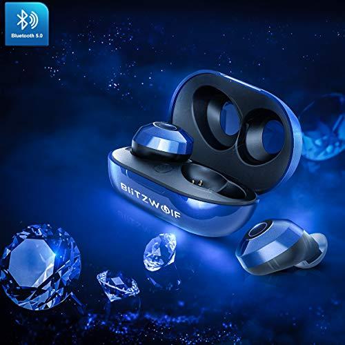 Bluetooth Kopfhörer, BlitzWolf Bluetooth V5.0 In Ear Sport Kabellos Kopfhörer TWS Headset 15H Spielzeit mit Tragbar Ladebox, IPX6 Wasserdicht, Noise Cancelling für iPhone Android Samsung (Königsblau)
