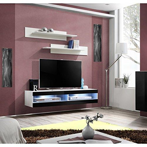 ASM Petit mobilier Meuble TV avec LED - 2 espaces de Rangement - Noir et Blanc
